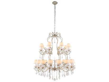 Elegant Lighting Diana Vintage Silver Leaf & Clear Crystal 24-Lights 44'' Wide Grand Chandelier