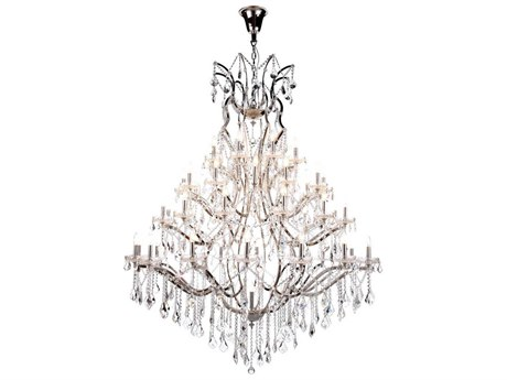 Elegant Lighting Elena Polished Nickel 49-Light 60'' Wide Chandelier with Clear Cut Crystal