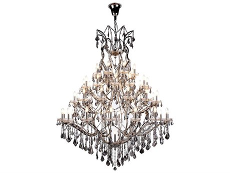 Elegant Lighting Elena Polished Nickel 49-Light 60'' Wide Chandelier with Silver Crystal