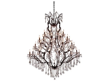 Elegant Lighting Elena Rustic Intent 49-Light 60'' Wide Chandelier with Clear Cut Crystal