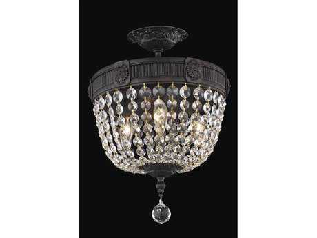 Elegant Lighting Esperanza Royal Cut Dark Bronze & Crystal Three-Light 12'' Wide Semi-Flush Mount Light EG9303F12DB
