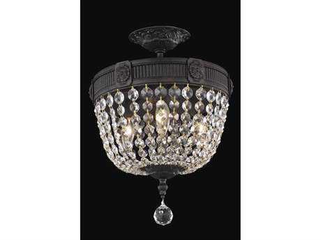 Elegant Lighting Esperanza Royal Cut Dark Bronze & Crystal Three-Light 12'' Wide Semi-Flush Mount Light
