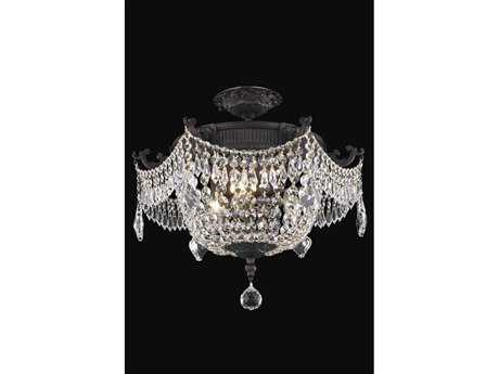 Elegant Lighting Esperanza Royal Cut Dark Bronze & Crystal Three-Light 18'' Wide Semi-Flush Mount Light EG9303F18DB