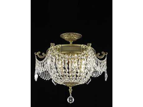 Elegant Lighting Esperanza Royal Cut French Gold & Crystal Three-Light 18'' Wide Semi-Flush Mount Light EG9303F18FG