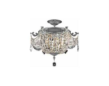 Elegant Lighting Esperanza Pewter 18 Wide Crystal Semi-Flush Mount EG9303F18PW