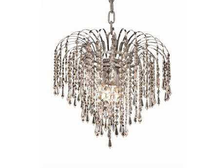 Elegant Lighting Falls Royal Cut Chrome & Crystal Four-Light 14'' Wide Chandelier EG6801D14C