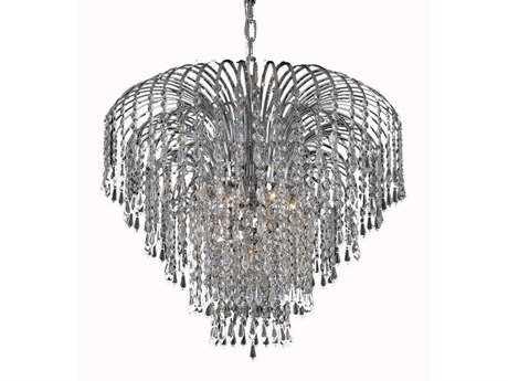 Elegant Lighting Falls Royal Cut Chrome & Crystal Six-Light 25'' Wide Chandelier EG6801D25C
