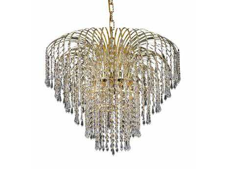 Elegant Lighting Falls Royal Cut Gold & Crystal Six-Light 25'' Wide Chandelier EG6801D25G