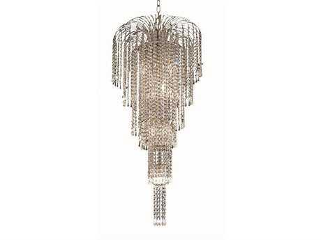 Elegant Lighting Falls Royal Cut Chrome & Crystal Nine-Light 19'' Wide Chandelier EG6801G19C