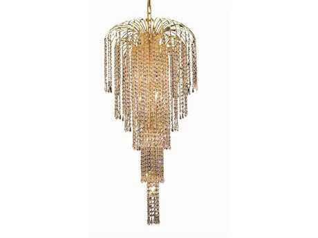 Elegant Lighting Falls Royal Cut Gold & Crystal Nine-Light 19'' Wide Chandelier EG6801G19G
