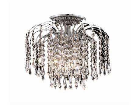 Elegant Lighting Falls Royal Cut Chrome & Crystal Four-Light 16'' Wide Flush Mount Light EG6801F16C
