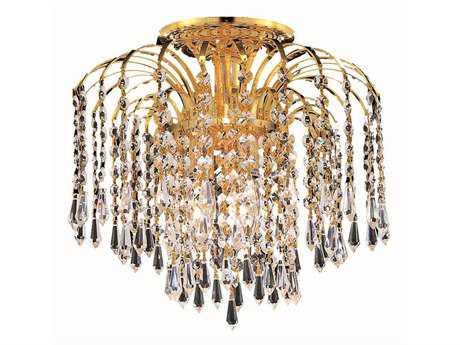 Elegant Lighting Falls Royal Cut Gold & Crystal Four-Light 16'' Wide Flush Mount Light EG6801F16G