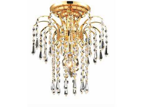 Elegant Lighting Falls Royal Cut Gold & Crystal 9'' Wide Flush Mount Light EG6801F9G