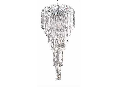 Elegant Lighting Falls Royal Cut Chrome & Crystal Nine-Light 21'' Wide Grand Chandelier EG6801G21C