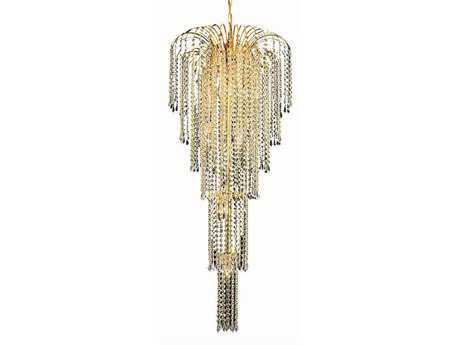 Elegant Lighting Falls Royal Cut Gold & Crystal Nine-Light 21'' Wide Grand Chandelier EG6801G21G