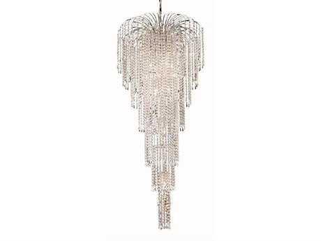 Elegant Lighting Falls Royal Cut Chrome & Crystal 11-Light 25'' Wide Grand Chandelier EG6801G25C