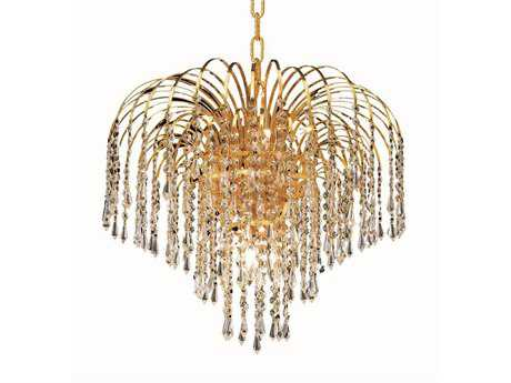 Elegant Lighting Falls Royal Cut Gold & Crystal Six-Light 19'' Wide Mini Chandelier EG6801D19G