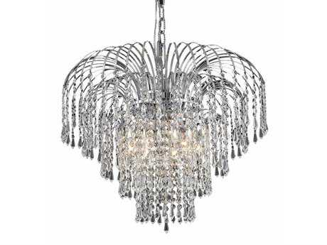 Elegant Lighting Falls Royal Cut Chrome & Crystal Six-Light 21'' Wide Mini Chandelier EG6801D21C