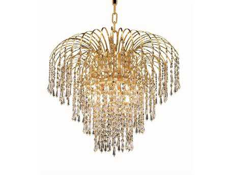 Elegant Lighting Falls Royal Cut Gold & Crystal Six-Light 21'' Wide Mini Chandelier EG6801D21G