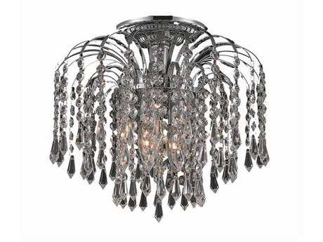 Elegant Lighting Falls Royal Cut Chrome & Crystal Three-Light 12'' Wide Semi-Flush Mount Light EG6801F12C