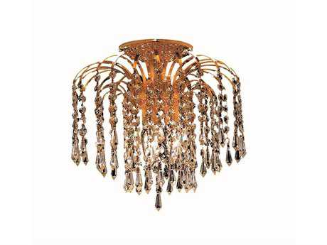 Elegant Lighting Falls Royal Cut Gold & Crystal Three-Light 12'' Wide Semi-Flush Mount Light EG6801F12G