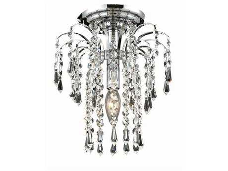 Elegant Lighting Falls Royal Cut Chrome & Crystal 9'' Wide Semi-Flush Mount Light EG6801F9C