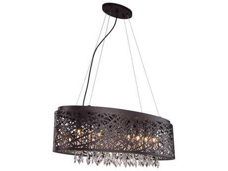 Elegant Lighting Finley Matte Dark Brown Nine-Light 32'' Long Island Light EG2113DF32MDBRC