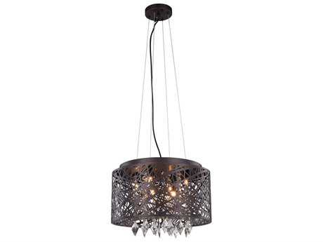 Elegant Lighting Finley Matte Dark Brown Seven-Light 16'' Wide Pendant Light EG2113DF16MDBRC