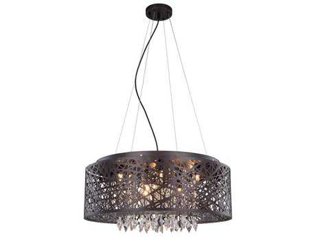 Elegant Lighting Finley Matte Dark Brown Nine-Light 24'' Wide Pendant Light EG2113DF24MDBRC