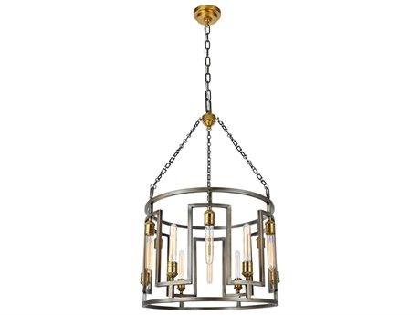 Urban Classic by Elegant Lighting Vintage Nickel & Electroplated Brass 12-Light 24'' Wide Pendant Light