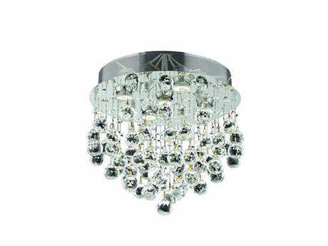 Elegant Lighting Galaxy Royal Cut Chrome & Crystal Five-Light 16'' Wide Flush Mount Light EG2006F16C