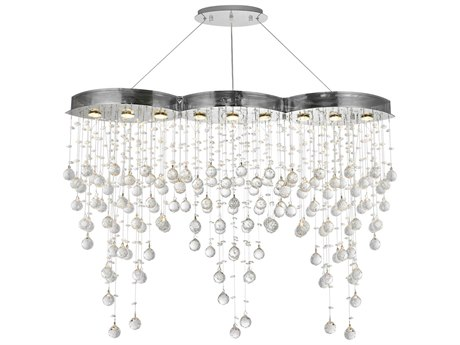 Elegant Lighting Galaxy Elegant Cut Chrome & Crystal Nine-Light 48'' Long Island Light EG2025D48C