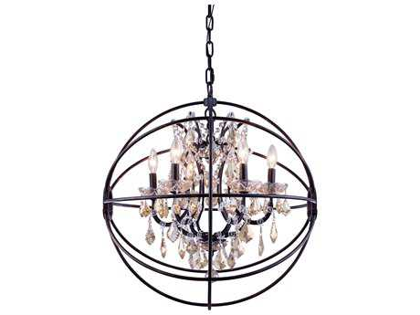 Elegant Lighting Geneva Dark Bronze & Golden Teak Crystal Six-Lights 25'' Wide Chandelier EG1130D25DBGT