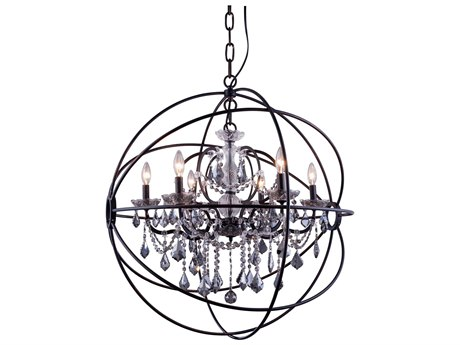 Elegant Lighting Geneva Dark Bronze & Silver Shade Crystal Six-Lights 32'' Wide Chandelier EG1130D32DBSS