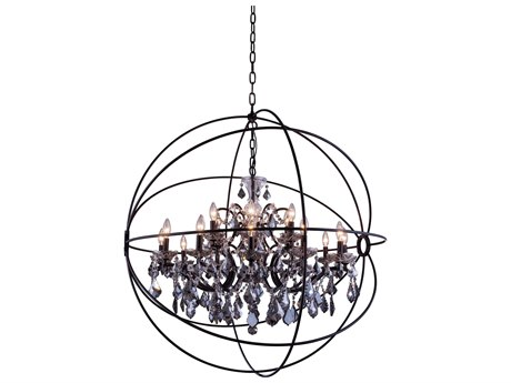 Elegant Lighting Geneva Dark Bronze & Silver Shade Crystal 18-Lights 43.5'' Wide Chandelier EG1130G43DBSS