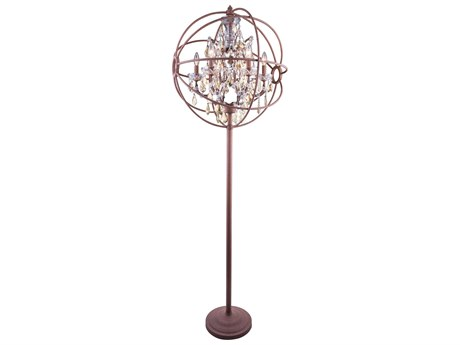 Elegant Lighting Geneva Rustic Intent & Golden Teak Crystal Six-Lights Floor Lamp EG1130FL24RIGT