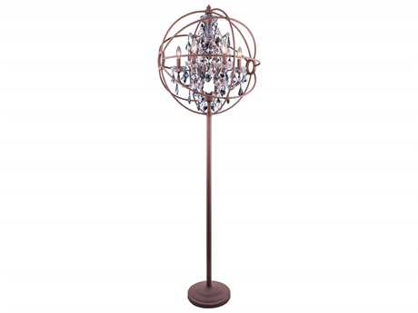 Elegant Lighting Geneva Rustic Intent & Silver Shade Crystal Six-Lights Floor Lamp EG1130FL24RISS