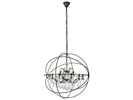 Elegant Lighting Geneva Dark Bronze & Clear Crystal 18-Lights 44'' Wide Chandelier EG1130G43DB