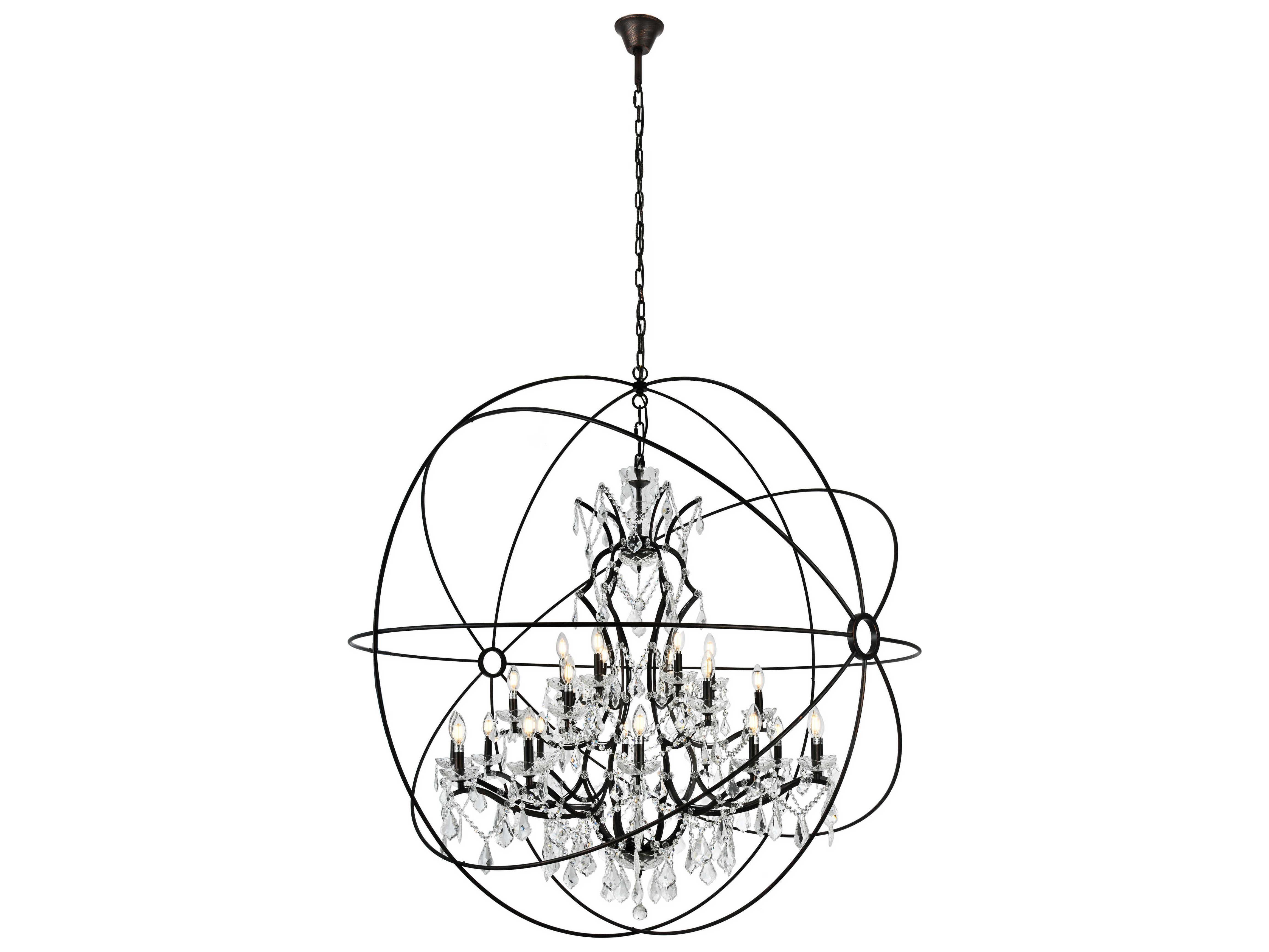 elegant lighting geneva dark bronze clear crystal 25 lights 60 wide grand chandelier eg1130g60db