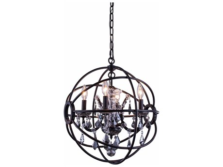 Elegant Lighting Geneva Dark Bronze & Silver Shade Crystal Four-Lights 17'' Wide Mini Chandelier EG1130D17DBSS