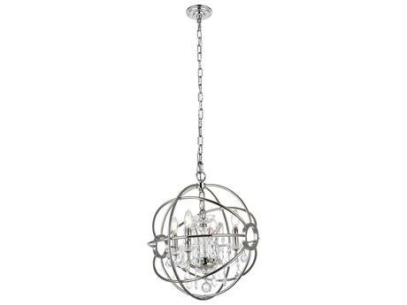 Urban Classic by Elegant Lighting Geneva Polished Nickel & Clear Crystal Four-Lights 17'' Wide Mini Chandelier EG1130D17PN