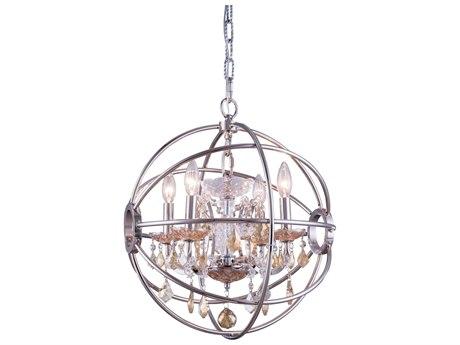 Elegant Lighting Geneva Polished Nickel & Golden Teak Crystal Four-Lights 17'' Wide Mini Chandelier EG1130D17PNGT