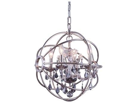 Elegant Lighting Geneva Polished Nickel & Silver Crystal Four-Lights 17'' Wide Mini Chandelier EG1130D17PNSS