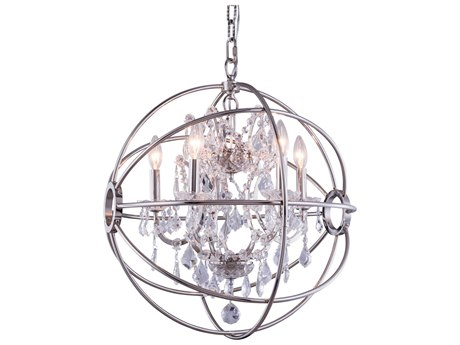Elegant Lighting Geneva Polished Nickel & Clear Crystal Five-Lights 20'' Wide Mini Chandelier EG1130D20PN