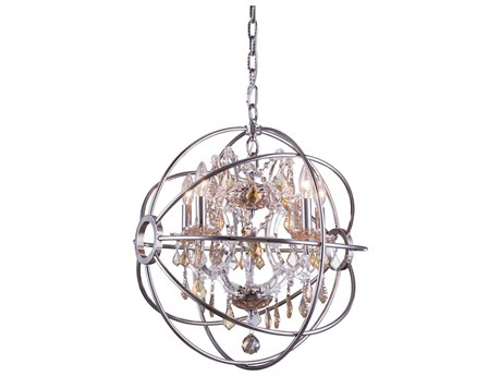 Elegant Lighting Geneva Polished Nickel & Golden Teak Crystal Five-Lights 20'' Wide Mini Chandelier EG1130D20PNGT
