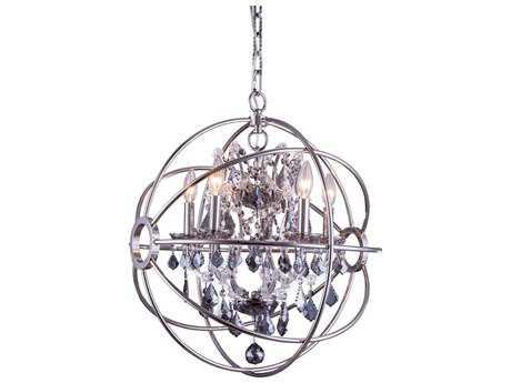 Elegant Lighting Geneva Polished Nickel & Silver Shade Crystal Five-Lights 20'' Wide Mini Chandelier EG1130D20PNSS