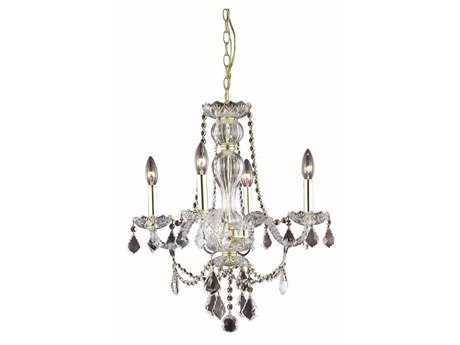 Elegant Lighting Giselle Royal Cut Gold & Crystal Four-Light 20'' Wide Mini Chandelier