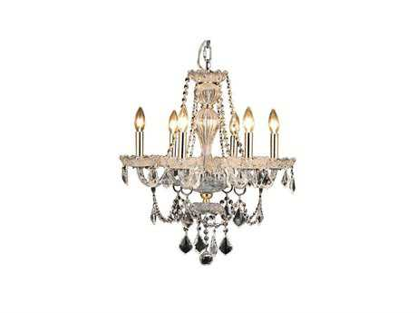Elegant Lighting Giselle Royal Cut Gold & Crystal Six-Light 21'' Wide Mini Chandelier