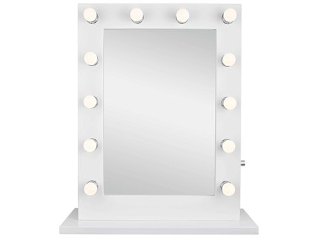 Elegant Lighting Hollywood Glossy White Wall Mirror