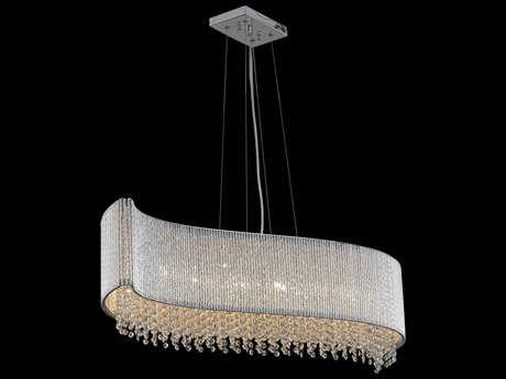 Elegant Lighting Influx Chrome & Clear Crystal Eight-Lights 44'' Long Island Light EG2090D44CRC
